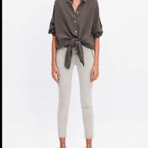 Zara stone skinny cargo pants